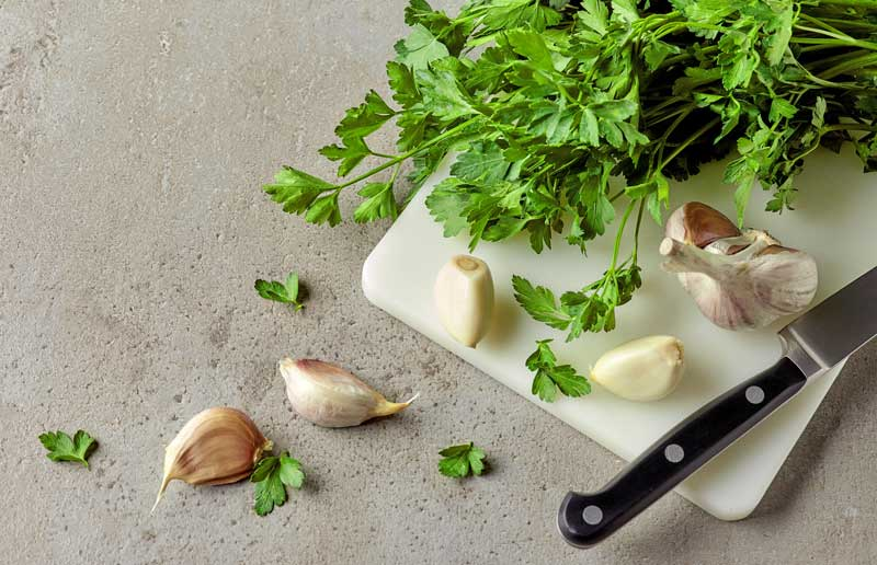 Parsley and garlic can be very harmful for dogs
