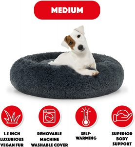 donut dog bed plush features